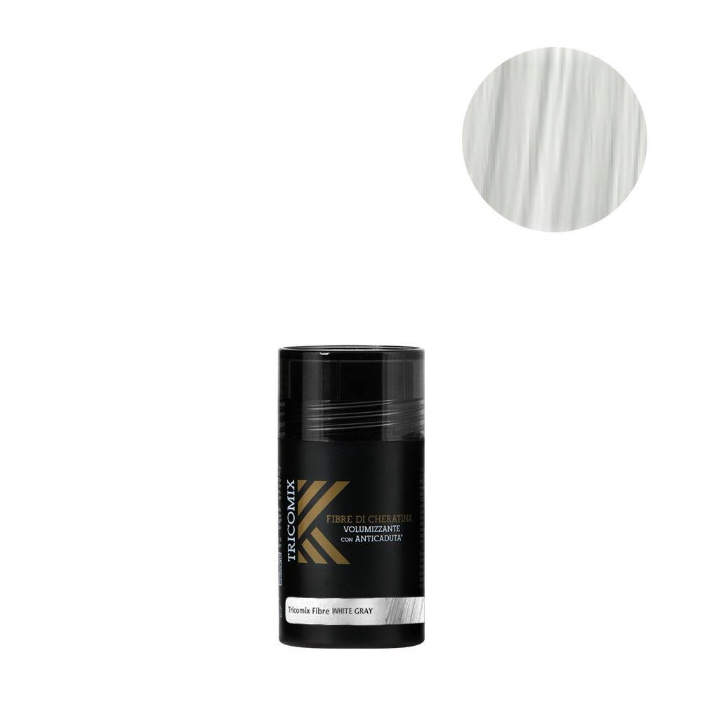 Tricomix Fibre White Gray 12gr - Fibras De Queratina Con Efecto Voluminizador Y Anticaída Gris Claro / Blanco