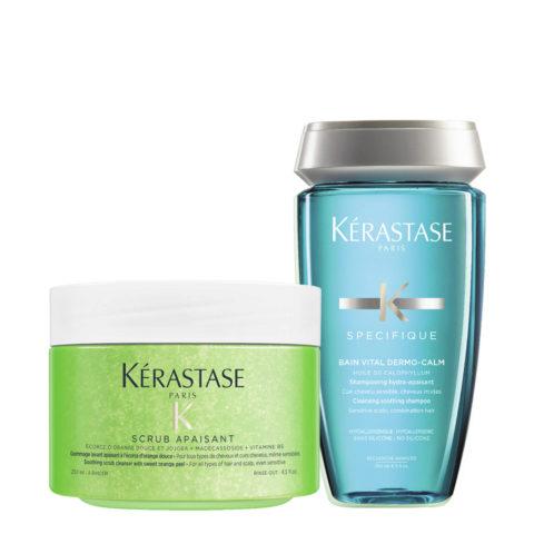 Kerastase Fusio Scrub Tratamiento 250ml + Bain Vital Dermo Calm  250ml - Scrub y Champú Calmante