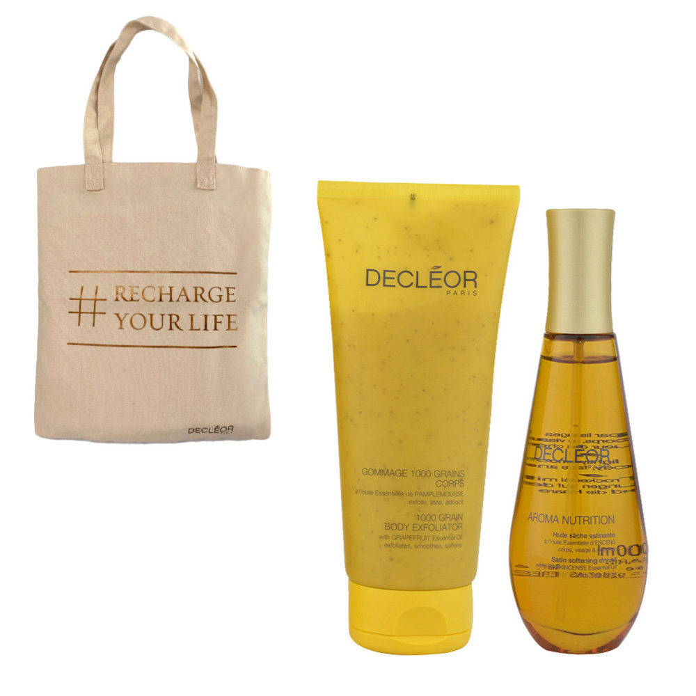 Decléor Aroma Nutrition body Kit Gommage 1000 grains corps 200ml Huile sèche satinante 100ml - bolsa en regalo