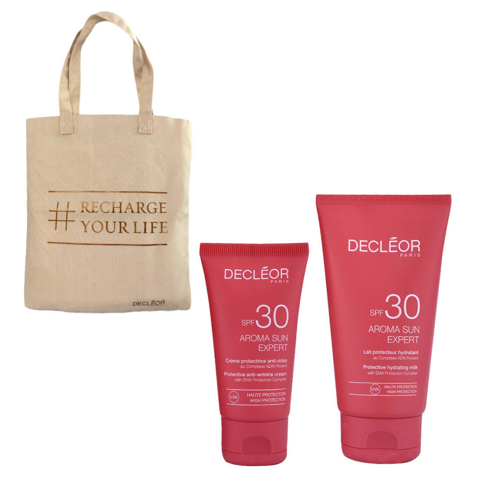 Decléor Aroma Sun Kit Protecteur Crème Anti-rides SPF30 50ml Lait Hydratant SPF30 150ml - bolsa en regalo