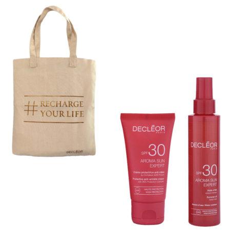 Decléor Aroma Sun Kit Protecteur Crème Anti-rides SPF30 50ml Huile d'été corps et cheveux SPF30 150ml - bolsa en regalo