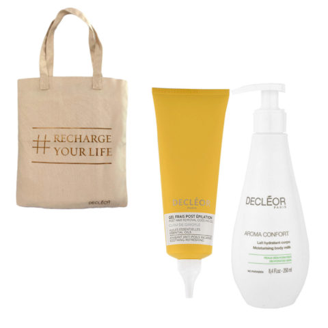 Decléor Bodycare Kit Post Hair Removal Cooling gel Clove 125ml Lait Hydratant 250ml - bolsa en regalo