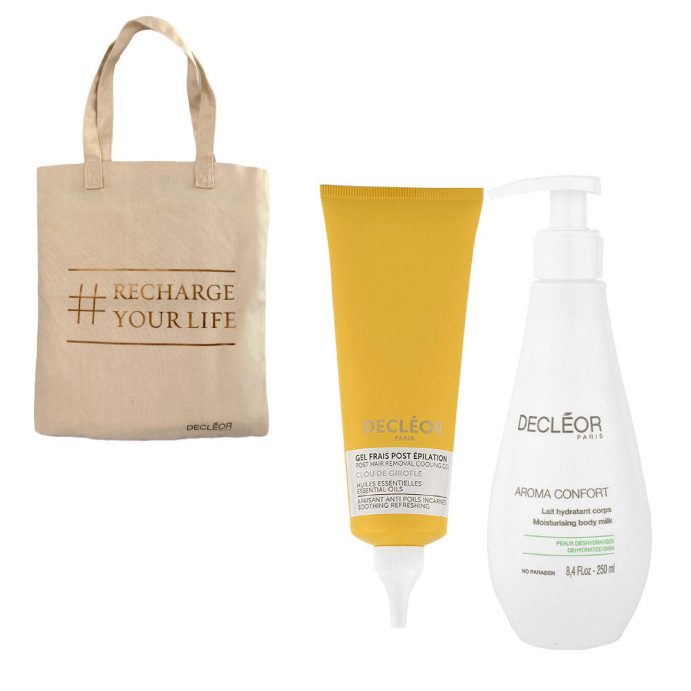 Decléor Bodycare Kit Post Hair Removal Cooling gel Clove 125ml Lait Hydratant 250ml - bolsa en regalo