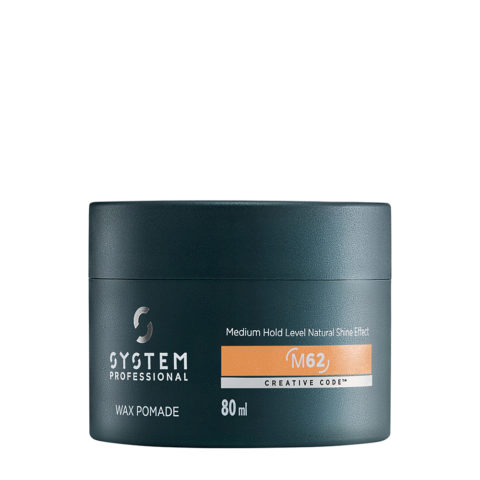 System Professional Man Wax Pomade M62, 80ml - Cera brillante de fijación media