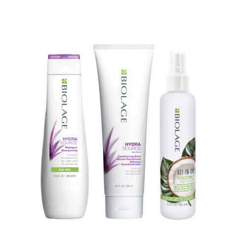 Biolage Hydrasource Kit Shampoo 250ml Conditioning Balm 280ml e All In One Coconut Spray 150ml