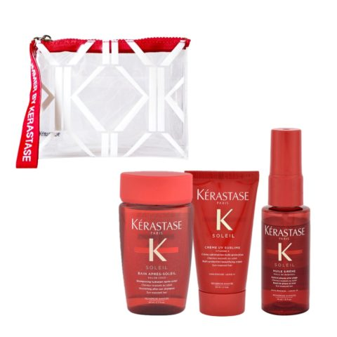 Kerastase Soleil Kit Champú 80ml Crema UV Sublime 50ml Aceite Sirene 45ml - Bolso Regalo