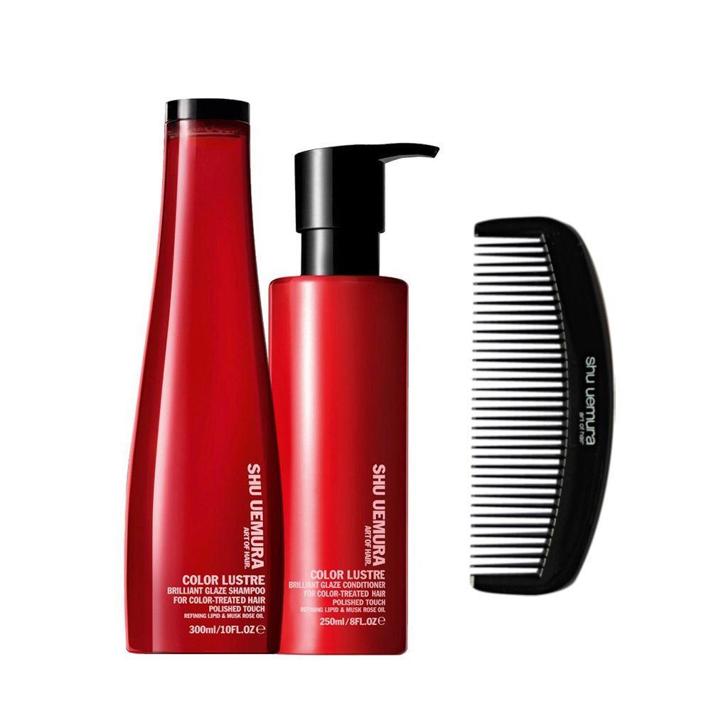 Shu Uemura Color Lustre kit shampoo 300ml conditioner 250ml - Champú, Acondicionador y Peine Geisha Gratis