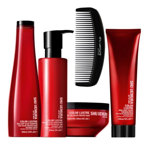 Shu Uemura Color Lustre Kit Champú 300ml Acondicionador  250ml Mascarilla 200ml Leche Térmica 150ml
