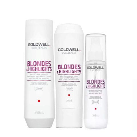 Goldwell Dualsenses blond & highlights Champú anti-amarillo 250ml Acondicionador 200ml Spray 150ml