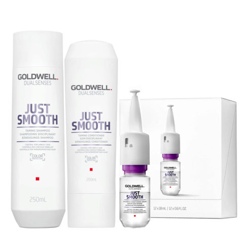 Goldwell Dualsenses Just Smooth Champú Anti-Frizz 250ml Acondicionador 200ml Serum 12x18ml
