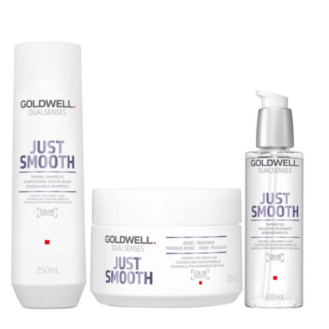 Goldwell Dualsenses Just Smooth Champú Anti-Frizz 250ml Mascara 200ml Aceite Anti-Frizz 100ml