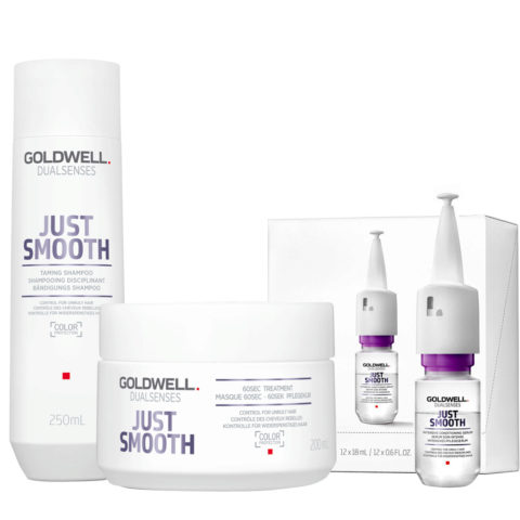 Goldwell Dualsenses Just Smooth Champú Anti-Frizz 250ml Mascara 200ml Suero 12x18ml