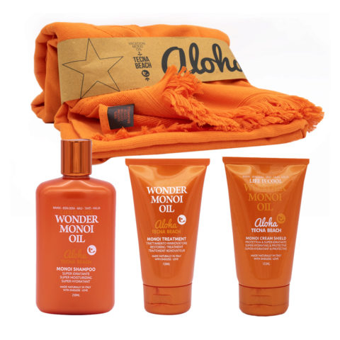 Tecna Beach Wonder Monoi Kit Champú 250ml Mascarilla 150ml Crema Protectiva Para Cabellos  125ml Toalla de Playa