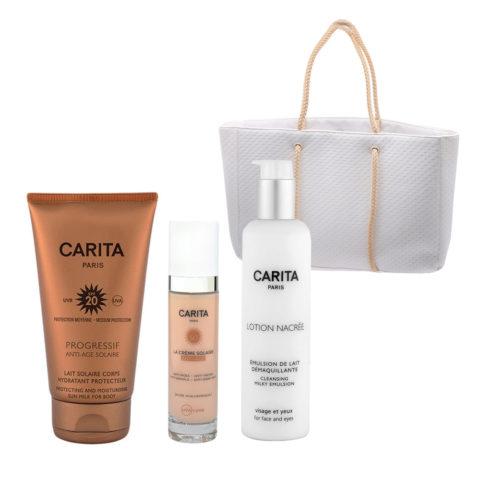 Carita Body Sun Protection SPF20, 150ml Face Protection SPF50+, 50ml and Cleansing Milk 200ml
