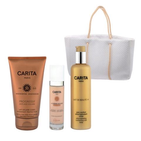 Carita Proteccion Solar Corporal SPF20, 150ml Protección Facial SPF50 +, 50ml y Leche Corporal Hidratante 200ml