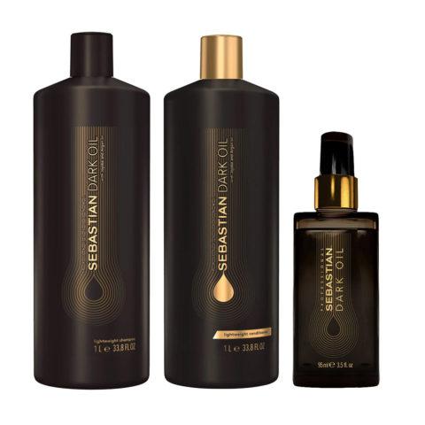 Sebastian Dark Oil Champù Hidratante Ligero 1000ml Acondicionador 1000ml Aceite 95ml