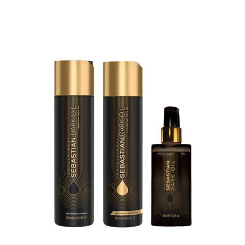 Sebastian Dark Oil Champù Hidratante Ligero 250ml Acondicionador 250ml Aceite 95ml