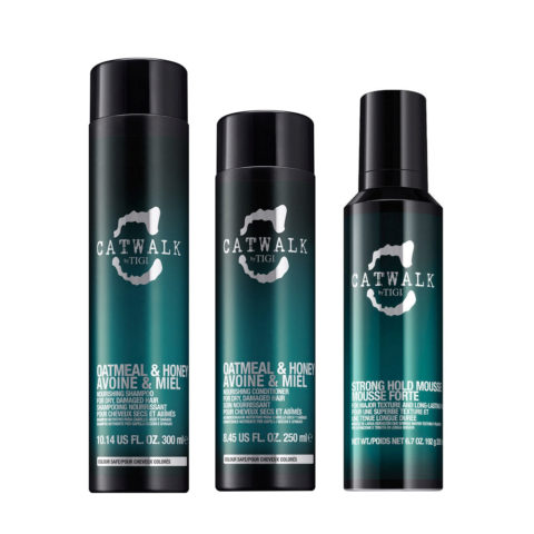 Tigi Catwalk Kit Shampoo 300ml Acondicionador 250ml Strong Hold Mousse 200ml Para Cabello Seco