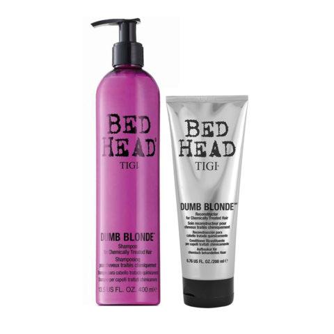 Tigi Bed Head Dumb Blonde Shampoo 400ml Acondicionador 200ml Cabello Tratado Rubio