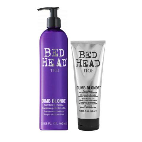 Tigi Bed Head Dumb Blonde Violet Toning Shampoo 400ml Acondicionador 200ml Cabello Tratado Rubio