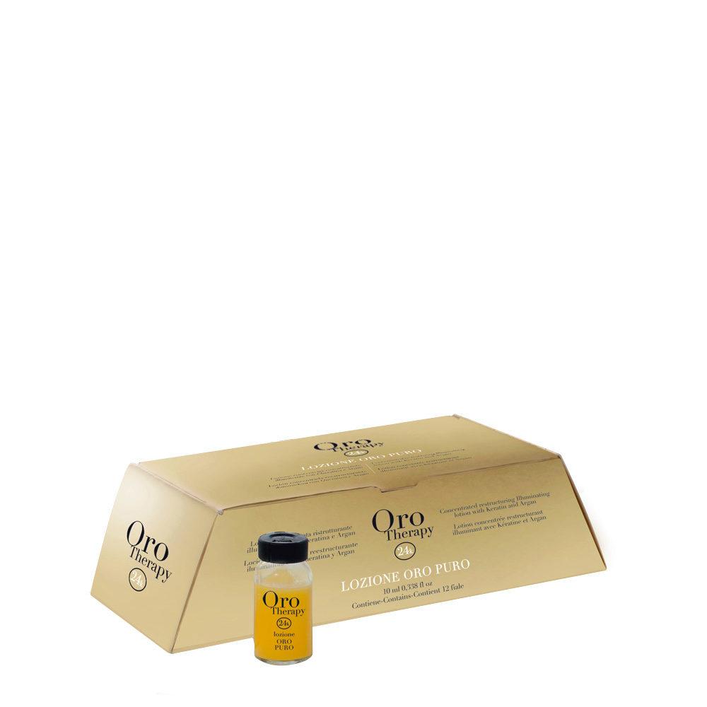 Fanola Oro Therapy Ampollas reestructurantes Pure Gold Para Todo Tipo de Cabello 12x10ml
