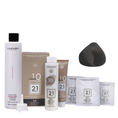 21 Ventuno Kit Color 3.0 Castaño Oscuro + Champú Gratis 250ml