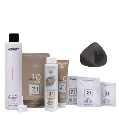 21 Ventuno Kit Color 7.1 Rubio Ceniza + Champú Gratis 250ml