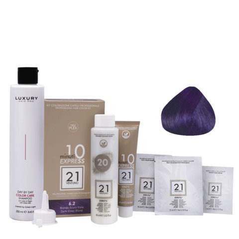 21 Ventuno Kit Coloration 6.2 Rubio Violeta Oscuro + Champú Gratis 250ml