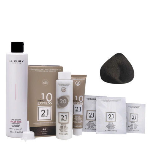 21 Ventuno Kit Color 4.0 Marrón + Champú  Gratis 250ml