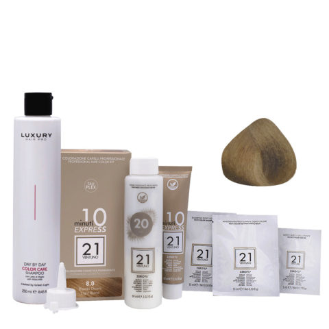 21 Ventuno Kit Color 8.0 Rubio Claro + Champú Gratis 250ml