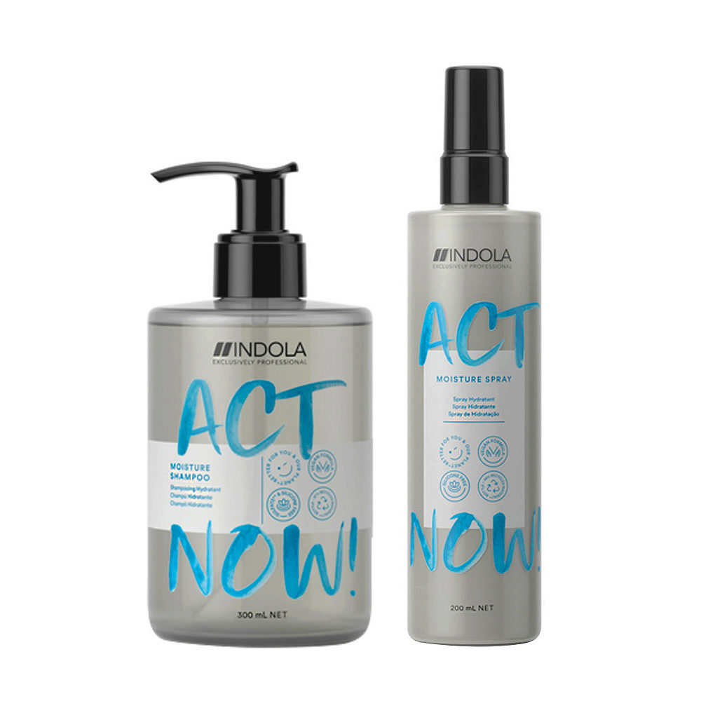 Indola Act Now Hidratante Cabello Seco Champù 300ml Y Spray Hidratante 200ml