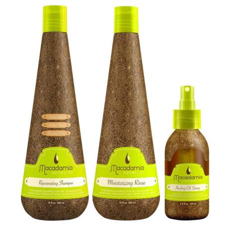 Macadamia Kit Pelo Seco Champù 300ml Acondicionador 300ml Spray 125ml