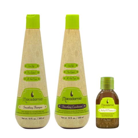 Macadamia Frizzy Hair Kit Champú 300ml Acondicionador 300ml Aceite de argán 27ml
