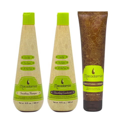 Macadamia Frizzy Hair Kit Champú 300ml Acondicionador 300ml Crema 148ml