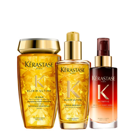 Kerastase Elixir Ultime Kit Champù 250ml Aceite 100ml Suero de Noche 90ml