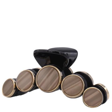 VIAHERMADA Pinza para el pelo con discos de piedra marròn