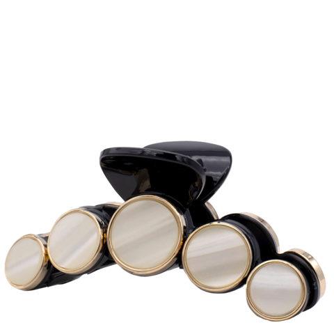 VIAHERMADA Pinza para el pelo con discos de piedra blanca