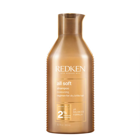 Redken All Soft Shampoo 300ml - champú limpiador para cabello seco