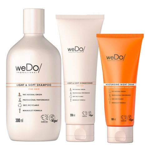 weDo Light & Soft Shampoo 300ml + Soft Conditioner 250ml + Night Cream 90ml