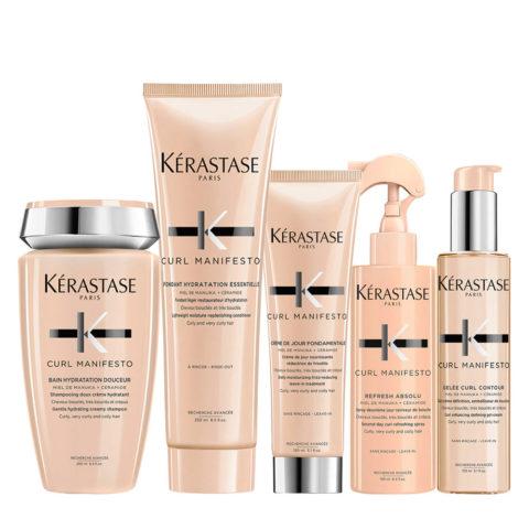 Kerastase Curl Manifesto Shampoo 250ml+Conditioner 250ml+ Crème de Jour 150ml+Refresh 190ml+Gelée Curl 150ml