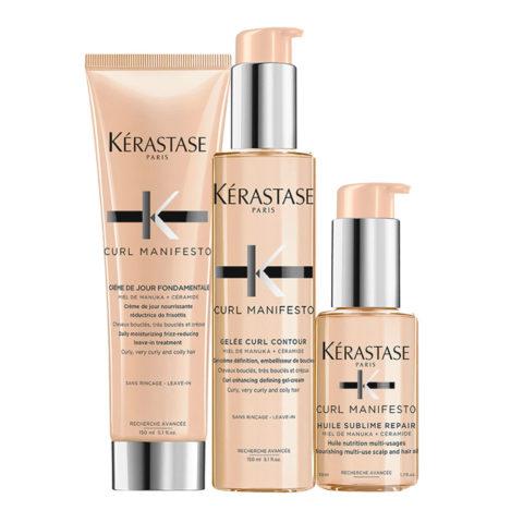 Kerastase Curl Manifesto Kit Crème de Jour 150ml Gelée Curl Revelation 150ml L'Huile Precieuse 50ml