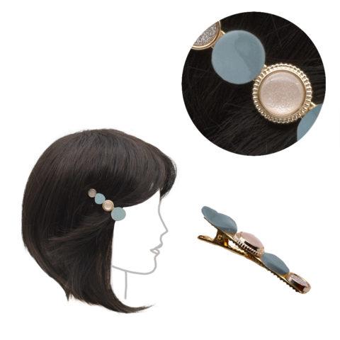 VIAHERMADA Pinza para la ropa de metal con adornos azul claro 6cm