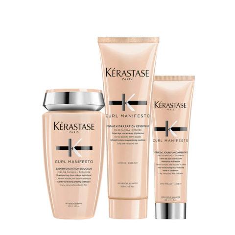 Kerastase Curl Manifesto Kit  para cabello rizado Champú250ml Acondicionador250ml Crema150ml