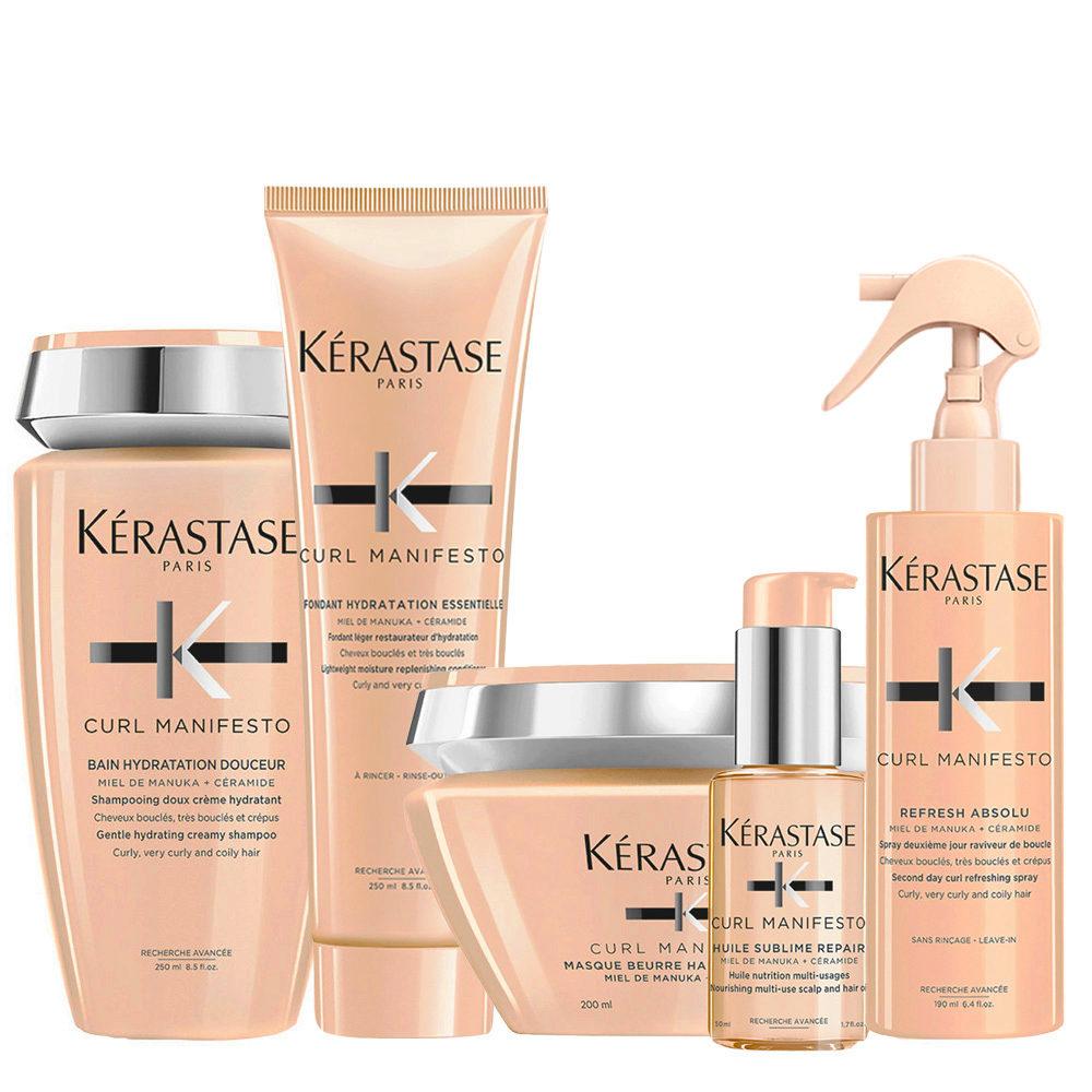 Kerastase Curl Manifesto Kit Capelli Ricci Shampoo250ml Maschera200ml Balsamo250ml Olio50ml Spray190ml