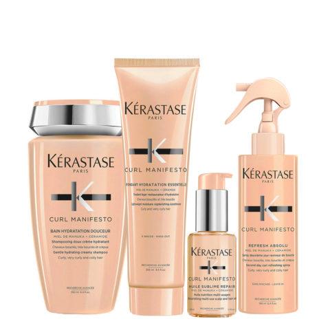 Kerastase Curl Manifesto Kit Champú para cabello rizado250ml Acondicionador250ml Aceite50ml Spray150ml