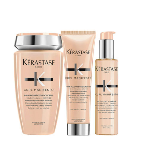 Kerastase Curl Manifesto Kit Champú para cabello rizado 250ml Crema150ml Crema-Gel150ml