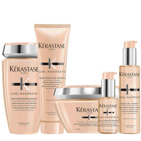 Kerastase Curl Manifesto Kit Champú para cabello rizado 250ml Mascarilla250ml Acondicionador250ml Aceite50ml Crema150ml