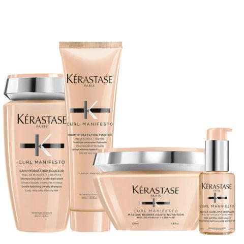 Kerastase Curl Manifesto Kit Champú para cabello rizado 250ml Mascarilla250ml Acondicionador250ml Aceite50ml