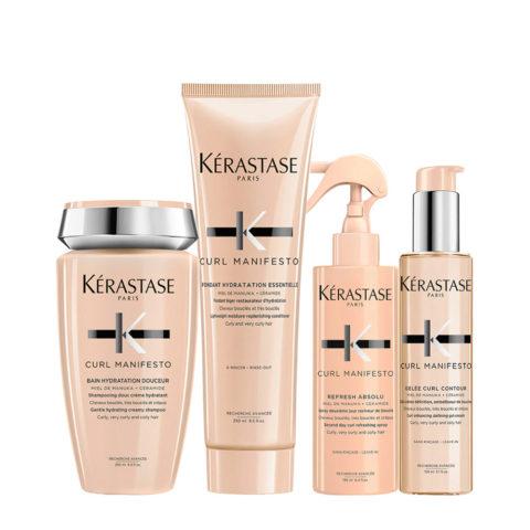 Kerastase Curl Manifesto Kit Champú para cabello rizado250ml Champù 250ml Acondicionador250ml  Spray150ml Crema150ml