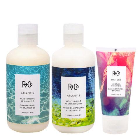 R+Co Atlantis Kit para Cabello Seco Shampoo 241ml Acondicionador Hidratante 241ml Crema 147ml